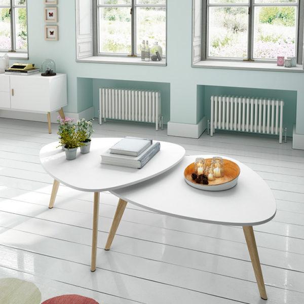 Juego de mesa de centro blanca y de madera