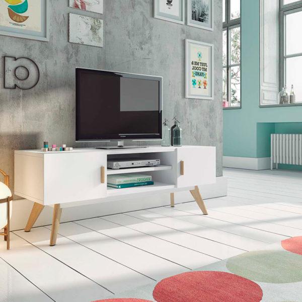 Mueble de TV blanco y madera haya